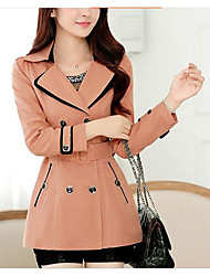 cheap -Women's Coat Peaked Lapel Long Sleeve Cut Out Mesh Oversized Fur Trim