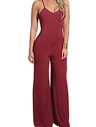 cheap -Women's Party Daily Club Holiday Casual Sexy Street chic Solid Fashion Halter Jumpsuits,Wide Leg Sleeveless Spring Summer Polyster