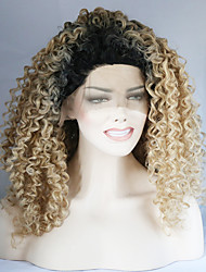 Black Root Lace Front Synthetic Wigs Kinky Curly Hair Ombre Blonde Wig Heat Resistant Fiber Hair for Woman