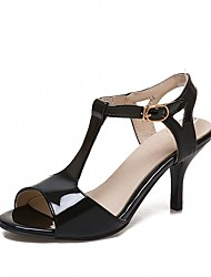 Women's Sandals Leatherette PU Summer Fall Walking Buckle Stiletto Heel White Black Blushing Pink 2in-2 3/4in
