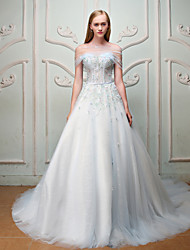 Ball Gown Princess Strapless Court Train Satin Tulle Rehearsal Dinner Formal Evening Dress with Beading Flower(s) Sequins Bandage by QZ