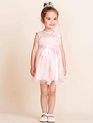 preiswerte -Ballkleid Knielänge Blumenmädchen Kleid - Baumwolle Ärmelloser Juwel Hals mit Drapieren