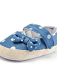 Newborn Baby Kids' Loafers & Slip-Ons First Walkers Fabric Summer Fall Party & Evening Dress Casual Bowknot Polka Dot Flat Heel Blushing Pink Blue Red