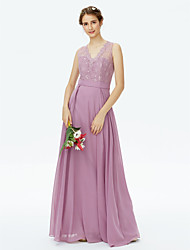 A-Line V-neck Floor Length Chiffon Lace Bridesmaid Dress with Lace Sash / Ribbon by LAN TING BRIDE®