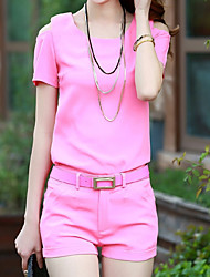 Women's Simple Active Summer T-shirt Pant Suits Round Neck Short Sleeve
