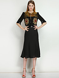 MARY YAN&YUWomen's Going out Casual/Daily Vintage Street chic Spring Summer Blazer Skirt SuitsSolid Color Block Round Neck Half Sleeve Sequins