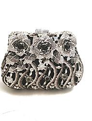 preiswerte -Damen Taschen PU Metall Kunstleder Abendtasche Pailletten für Winter Schwarz Schwarz-Weiß