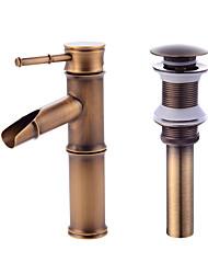 baratos -Moderna Conjunto Central Válvula Cerâmica Monocomando e Uma Abertura Cobre Envelhecido, Faucet Set