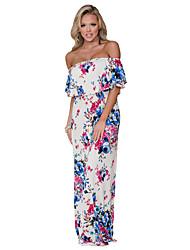 cheap -Women's Street chic Sheath Dress - Floral High Rise Maxi Strapless