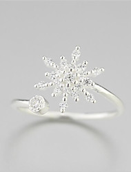 cheap -925 Pure Silver Melting Snow Snow Flower Fresh Fashion Opening Ring