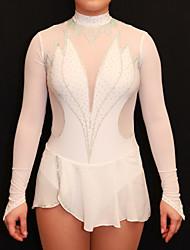 Vestidos para Patinação Artística Mulheres Para Meninas Patinação no Gelo Vestidos Branco Elastano Pedrarias Elasticidade Alta Espetáculo