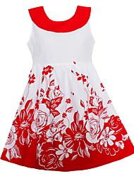 economico -Vestito Ragazza Cotone Fantasia floreale Estate Senza maniche Florale Rosso