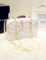Women Bags All Seasons Silk Evening Bag Lace for Event/Party Date Party & Evening White