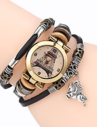cheap -Women Premium Genuine Leather Watch Triple Bracelet Watch Tower Charm Wristwatch Fashion Para Femme