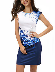cheap -Women's Boho Sheath Dress,Floral Color Block Round Neck Above Knee Short Sleeves Polyester Spandex Summer Mid Rise Micro-elastic Thin