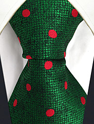 cheap -CS5 Unique Extra Long  Mens Ties Green Red Dots 100% Silk Business New Jacquard Woven For Men