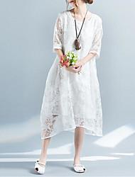 baratos -Mulheres Temática Asiática Solto Vestido Sólido Longo