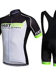 cheap -Fastcute Cycling Jersey with Bib Shorts Men's Bike Bib Shorts Jacket Shorts Shirt Sweatshirt Jersey Clothing Suits Top Polyester Silicon
