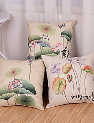cheap -Set Of 3 Chinese Style Lotus Flowers Pillow Cover Creative Printing Cotton/Linen Pillow Case Cushion Cover