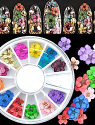 Top Quality 36pcs 3D Nail Art Sticker Dried Flower DIY Tips Acrylic Decoration Wheel