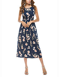 Women's Floral Patterns Beach Holiday Street chic Sheath Dress,Print V Neck Knee-length Short Sleeve Polyester Summer Mid Rise Micro-elastic Medium