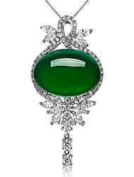 economico -Per donna Altro Di tendenza Euramerican Stile semplice Collane con ciondolo Smeraldo sintetico Smeraldo Lega Collane con ciondolo ,