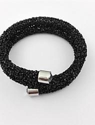abordables -Femme Acier inoxydable Strass Forme de Lettres Bracelets Rigides - Amitié Fait à la Main Mode Argent Bleu de minuit Gris Bracelet Pour