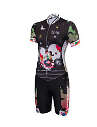 Malciklo Tri Suit Women's Short Sleeves Bike Triathlon/Tri Suit Anatomic Design Moisture Permeability Front Zipper High Breathability