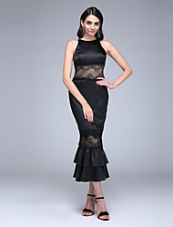 Mermaid / Trumpet Jewel Neck Tea Length Lace Stretch Satin Prom Formal Evening Dress with Lace Ruffles by TS Couture®