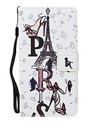 baratos -Capinha Para Samsung Galaxy S8 Plus S8 Carteira Porta-Cartão Com Suporte Flip Magnética Estampada Corpo Inteiro Torre Eiffel Rígida Couro