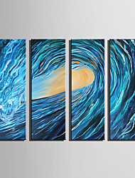 E-HOME Stretched Canvas Art Blue Waves Horse Decoration Painting Set Of 4