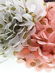 Pink White Gold Polka Dot Tissue Paper Pom Poms Artificial Flower Wedding Party Decoration Circus Home Supplies Deco Marriage