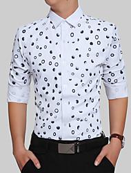 Недорогие -Для мужчин Для вечеринок День рождения Повседневные Офис Большие размеры На каждый день Все сезоны Рубашка Рубашечный воротник,Простое