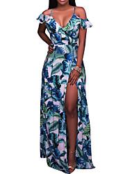 baratos -Mulheres Bandagem Feriado Boho Bainha Vestido - Frente Única Fenda, Árvores / Folhas Estampa Colorida Com Alças Cintura Alta Longo