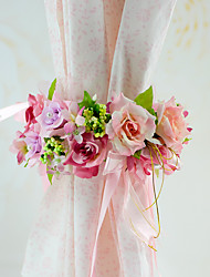 1 Piece YUXIYING Little Roses Curtain Bundle Flowers Chair Sash Flowers Wedding Party  Long Style