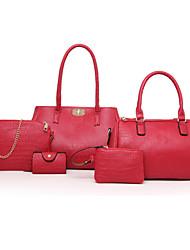economico -Donna Sacchetti PU (Poliuretano) Tote Set di borse da 5 pezzi per Casual Per tutte le stagioni Blu Oro Nero Rosso
