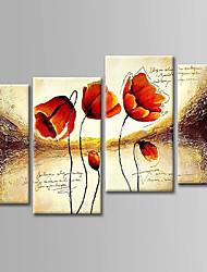 Недорогие -Hang-роспись маслом Ручная роспись - Цветочные мотивы / ботанический Абстракция холст 4 панели