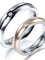 preiswerte -Paar Eheringe Kubikzirkonia Gold Silber Kubikzirkonia Titanstahl Kreisförmig Elegant Simple Style Hochzeit Jahrestag Party Verlobung