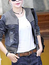 Women's Daily Modern/Comtemporary Fall Denim Jacket,Print Round Neck Long Sleeve Short Others