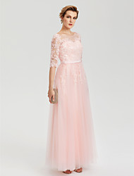 A-Line Illusion Neckline Floor Length Tulle Evening Party Formal Dress with Applique Sash / Ribbon Pleats by TS Couture®