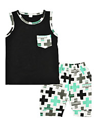 Baby Kids' Outdoor Casual/Daily Cross Print Geometric Clothing Set Summer Vest Shorts 2pcs Outfits for Boys