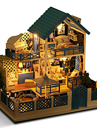 cheap -Dollhouse Model Building Kit Doll Toys DIY House Natural Wood Classic Pieces Unisex Birthday Gift