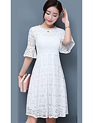 cheap -Women's Daily Sheath Dress,Solid Round Neck Knee-length Short Sleeves Cotton Summer Mid Rise Micro-elastic Thin