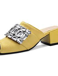 cheap -Women's Shoes PU Summer Comfort Light Soles Slippers & Flip-Flops Block Heel Peep Toe Sparkling Glitter For Casual Dress Black Yellow