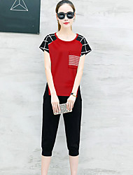 Women's Sport Daily Contemporary Summer T-shirt Pant Suits,Plaid/Check Round Neck Short Sleeve