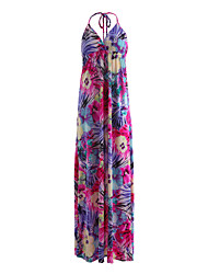 cheap -Women's Holiday Going out Beach Cute Casual Sexy Swing Dress,Floral Halter Maxi Sleeveless Milk Fiber Summer High Rise Micro-elastic