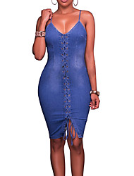 cheap -Women's Denim Bodycon Dress - Solid Sexy, Backless Criss-Cross High Rise Strap