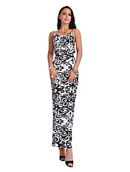 cheap -Women's Party Daily Holiday Going out Club Beach Vintage Sexy Boho Sheath Dress,Print Strap Maxi Sleeveless Polyester Summer High Rise