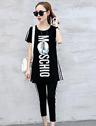 Women's Other Casual Simple Spring Summer Shirt Pant Suits,Letter Round Neck Short Sleeve