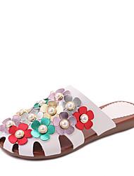 Women's Slippers & Flip-Flops Comfort Summer PU Walking Shoes Casual Dress Flower Flat Heel White Black Flat